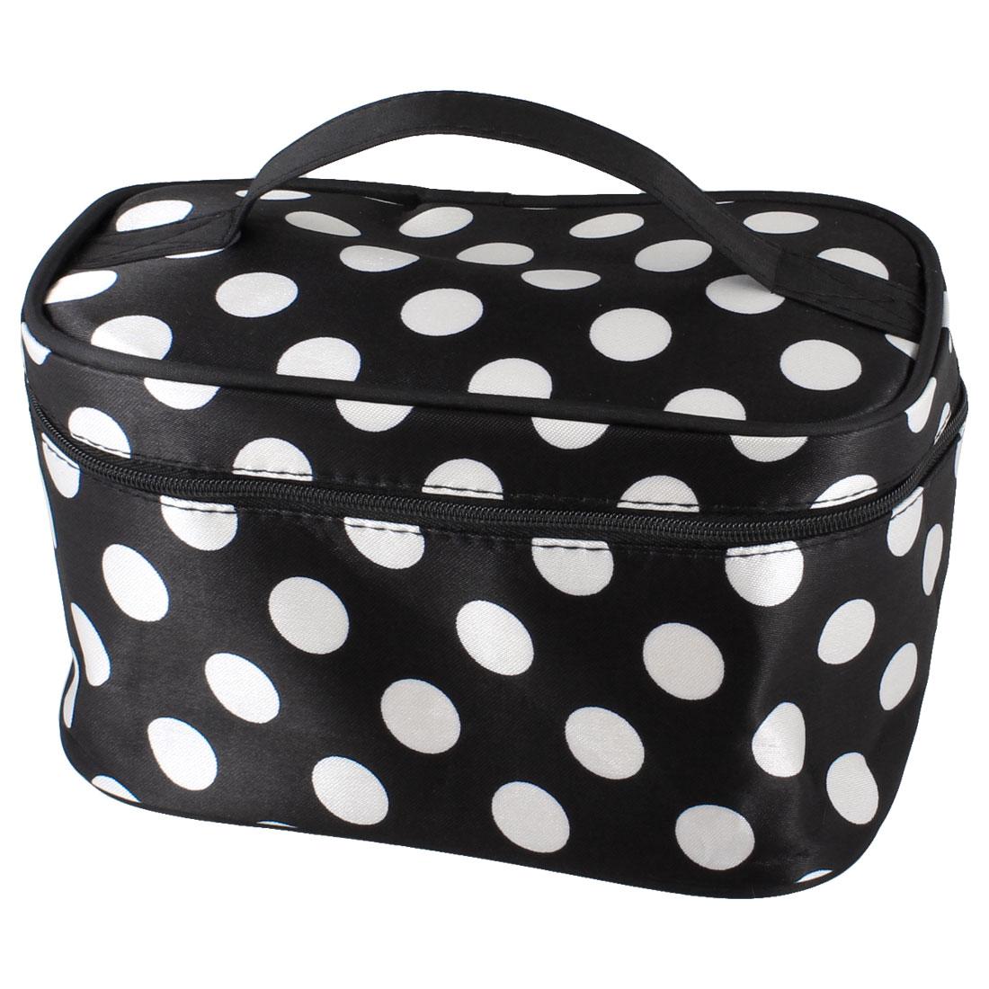 Zipper Closure White Dots Pattern Black Cosmetic Hand Case Bag