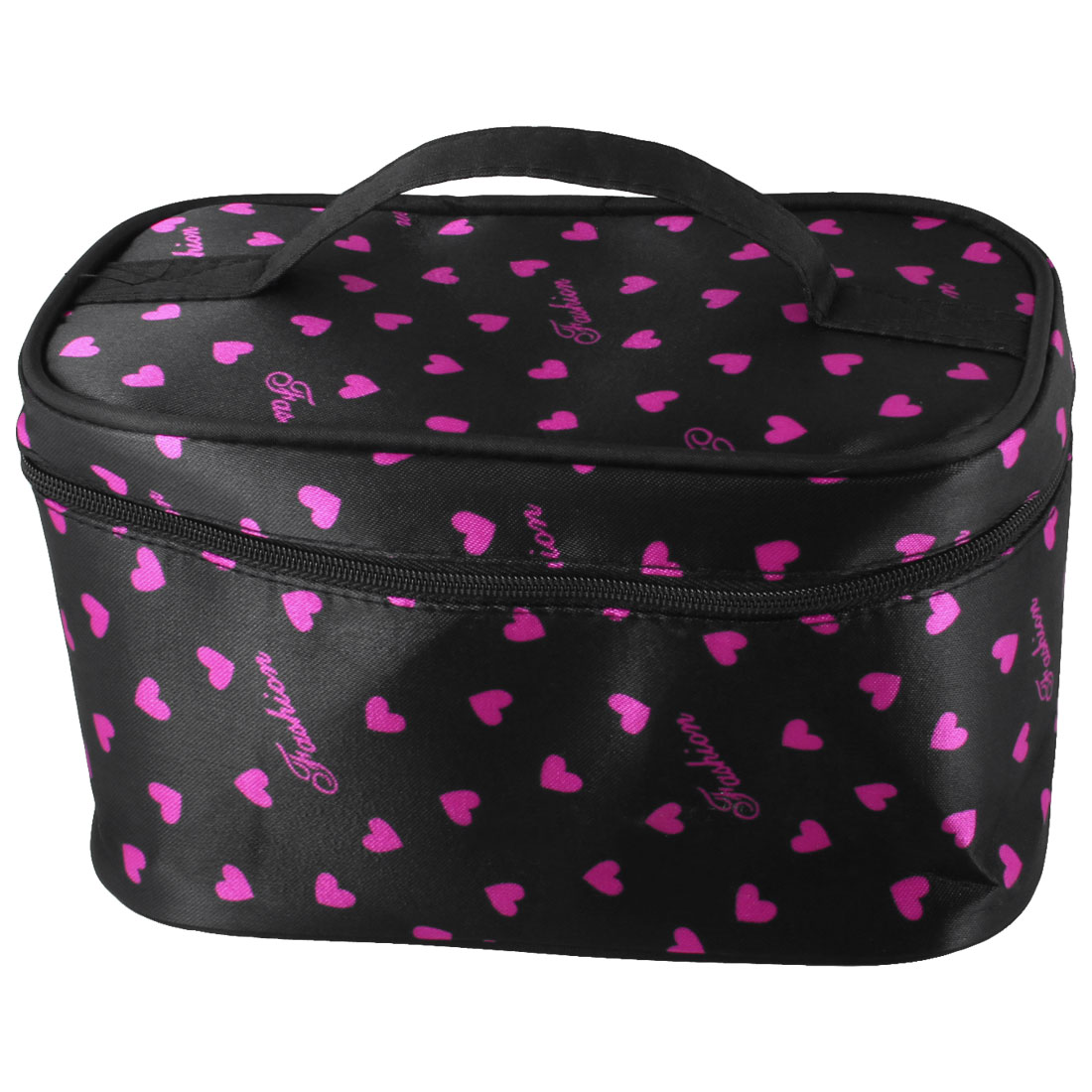 Zipper Closure Fuchsia Heart Pattern Black Cosmetic Hand Case Bag