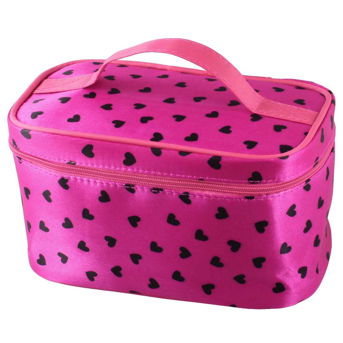 Zip up Closure Black Heart Pattern Fuchsia Travel Accessory Organizer Cosmetic Makeup Case Bag