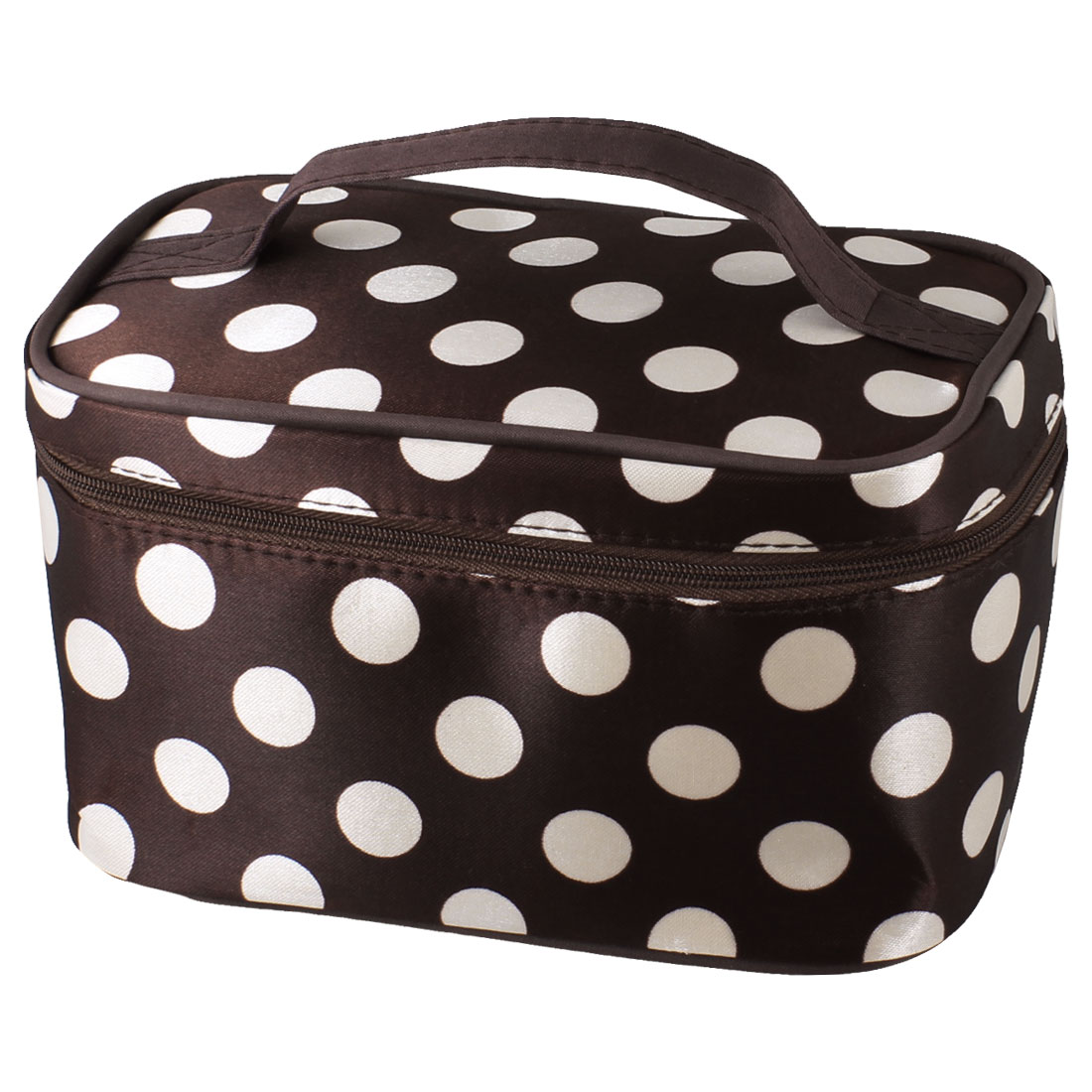 Zipper Closure White Dots Pattern Dark Brown Cosmetic Hand Case Bag