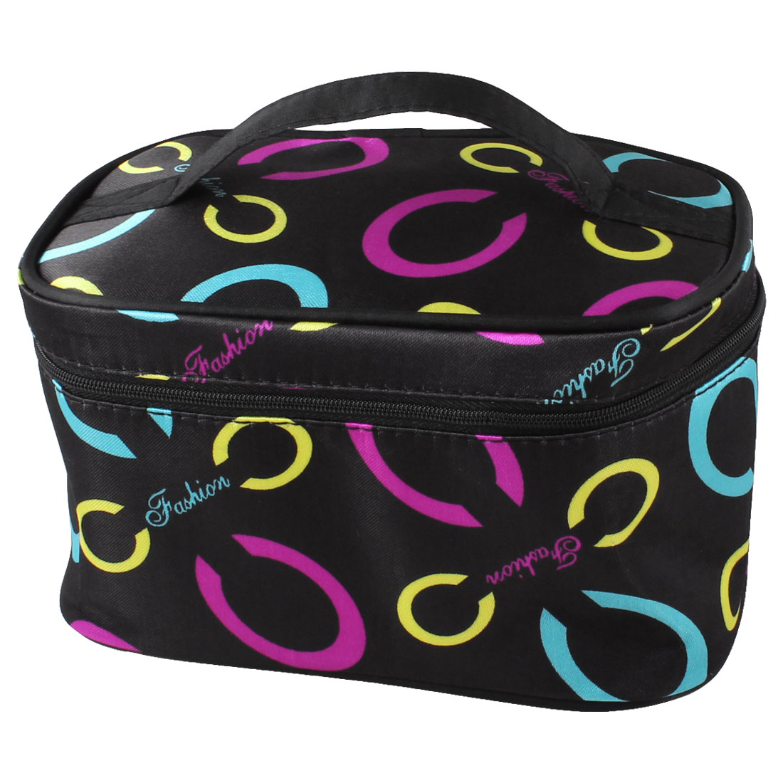 Lady Zipper Closure Colorful Ovals Pattern Cosmetic Hand Case Bag