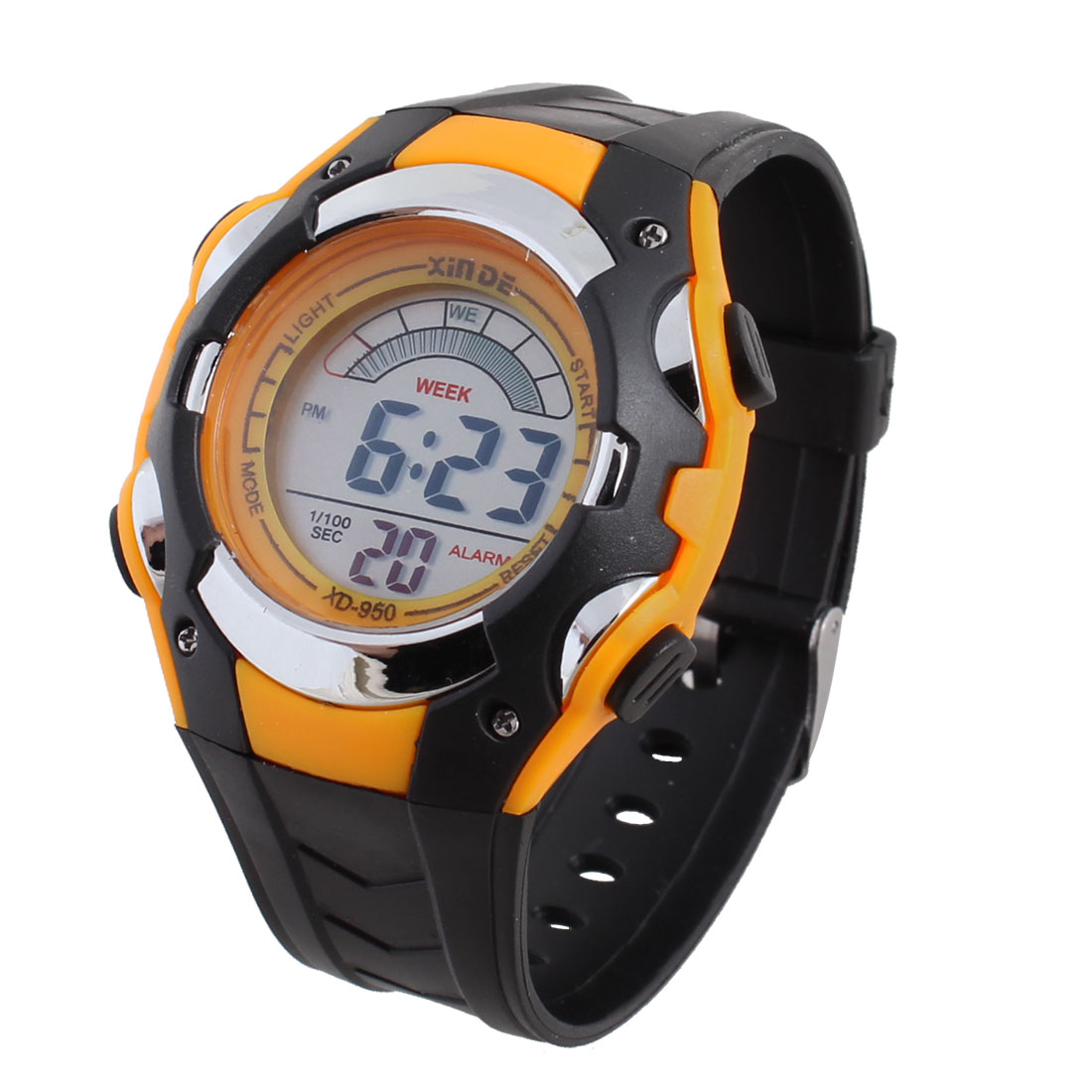 Children Adjstable Band Alarm Stopwatch Sports Wrist Watch Orange