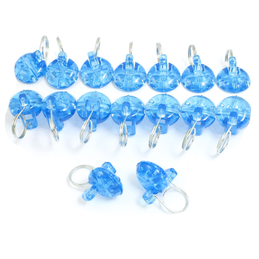 16 Pcs Blue Plastic Office Window Curtain Hanging Ring Clips Rod Mounting Clamps