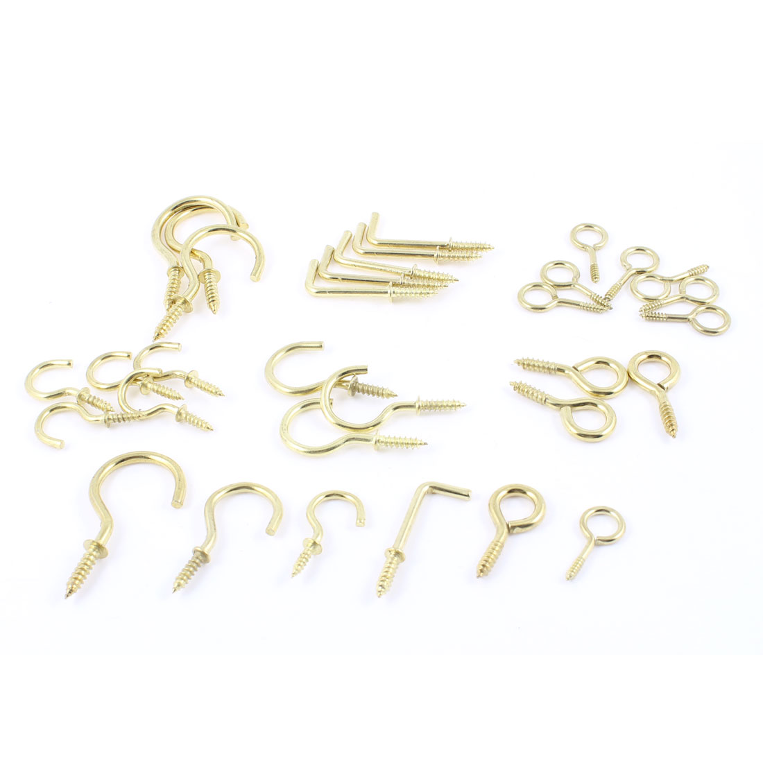 32 Pcs Ceiling Screw Hooks Plant Picture Hanger Lamp Wire Holder Gold Tone