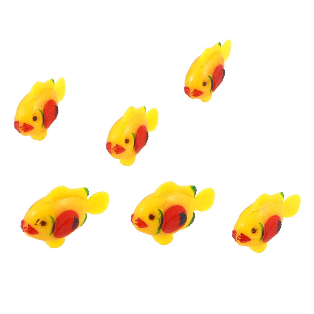 Wiggling Tail Three Colors Plastic Fishes Aquarium Fish Tank Decor 6 Pcs