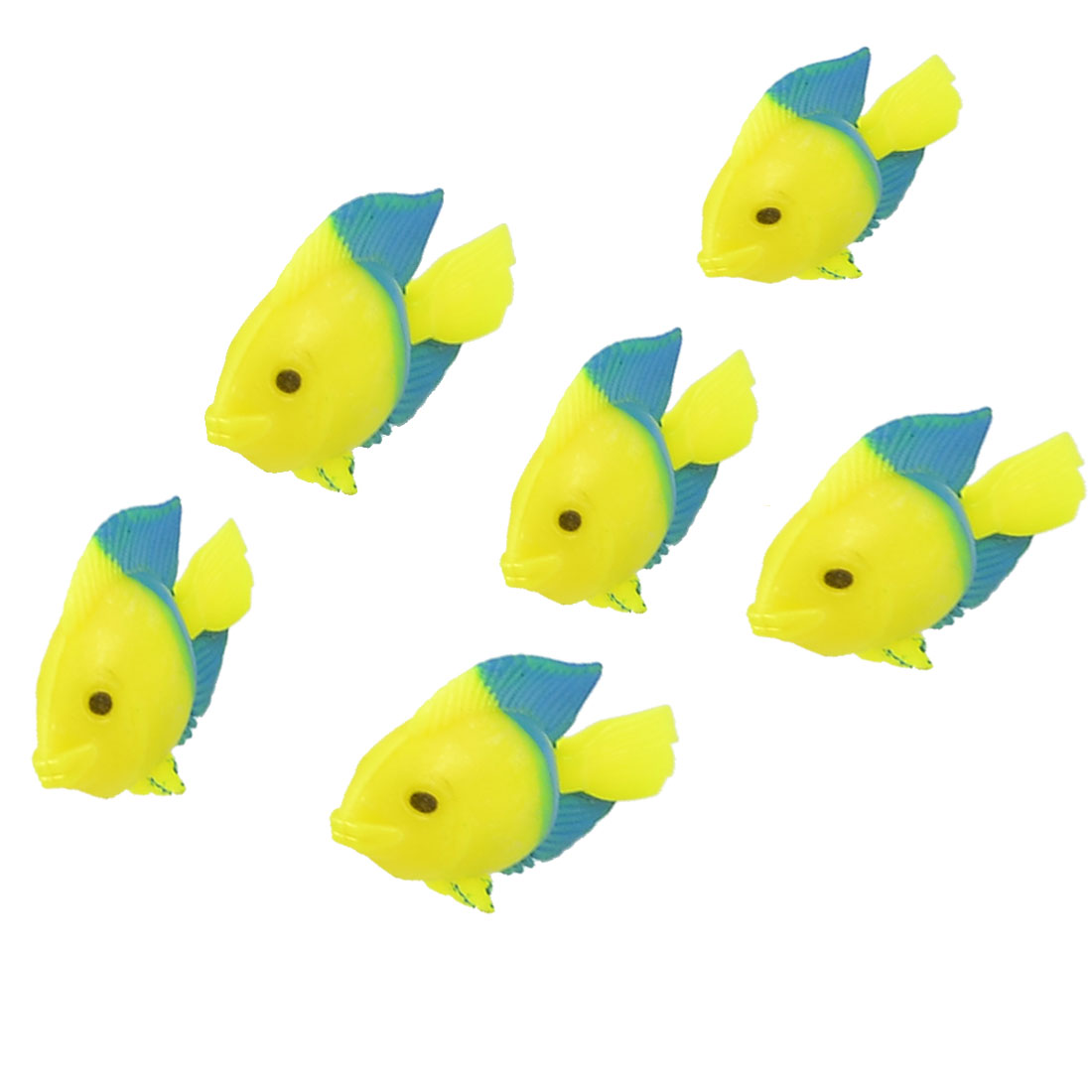 Aquarium Fish Tank Ornament Simulated Yellow Blue Plastic Fishes 6 Pcs