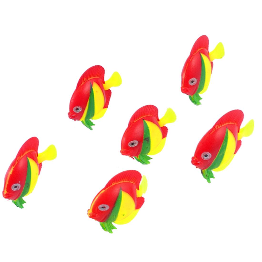 Wiggling Tail 3 Colors Plastic Fishes Aquarium Fish Tank Decor 6 Pcs
