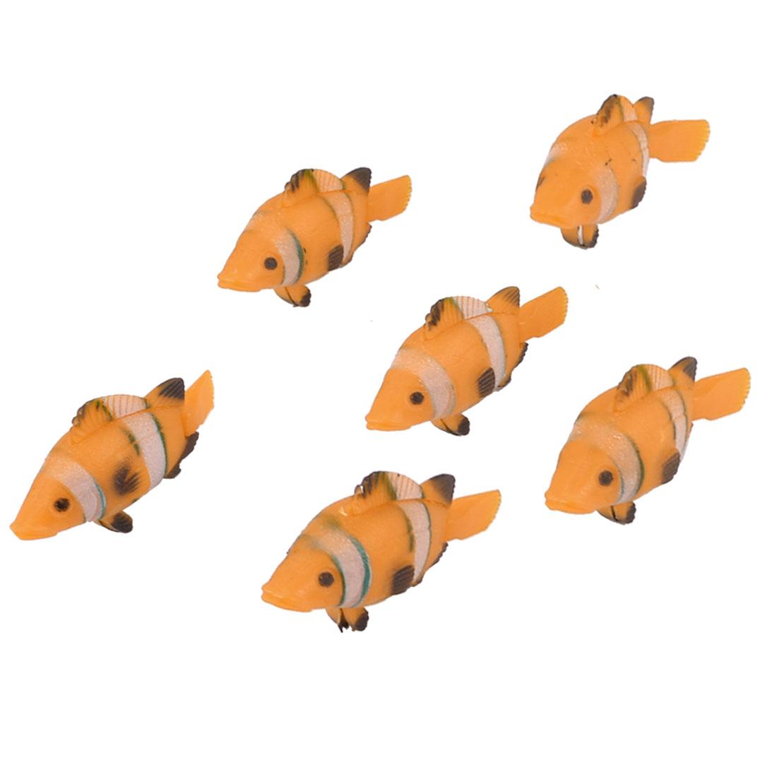 Wiggling Tail Orange Black Plastic Fishes Aquarium Fish Tank Decor 6 Pcs