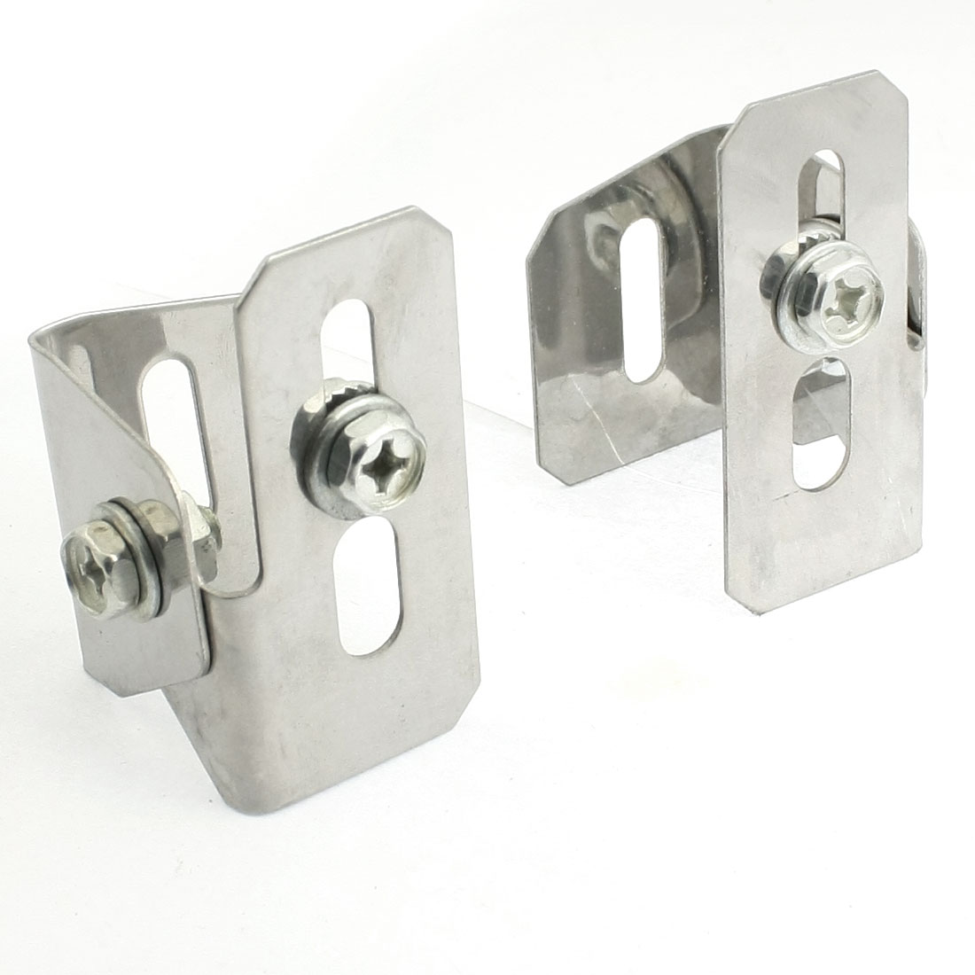 2 Pcs Silver Tone License Fix Bracket Holders for Auto Vehicle