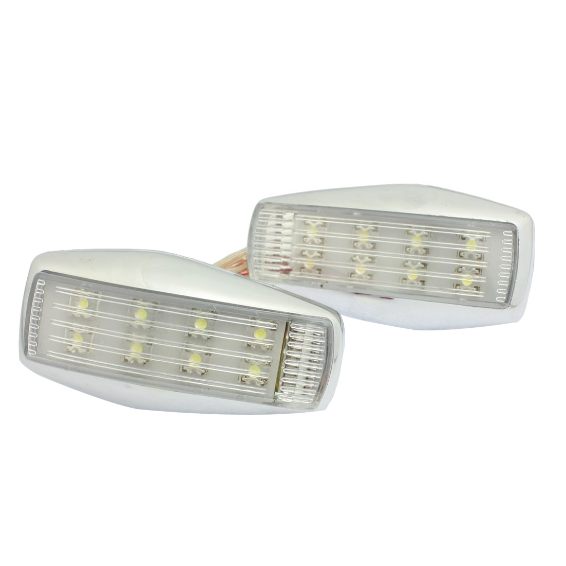 2 Pcs White 8 LED Car Trailer Bumper Side Marker Light Lamp Wire DC 12V