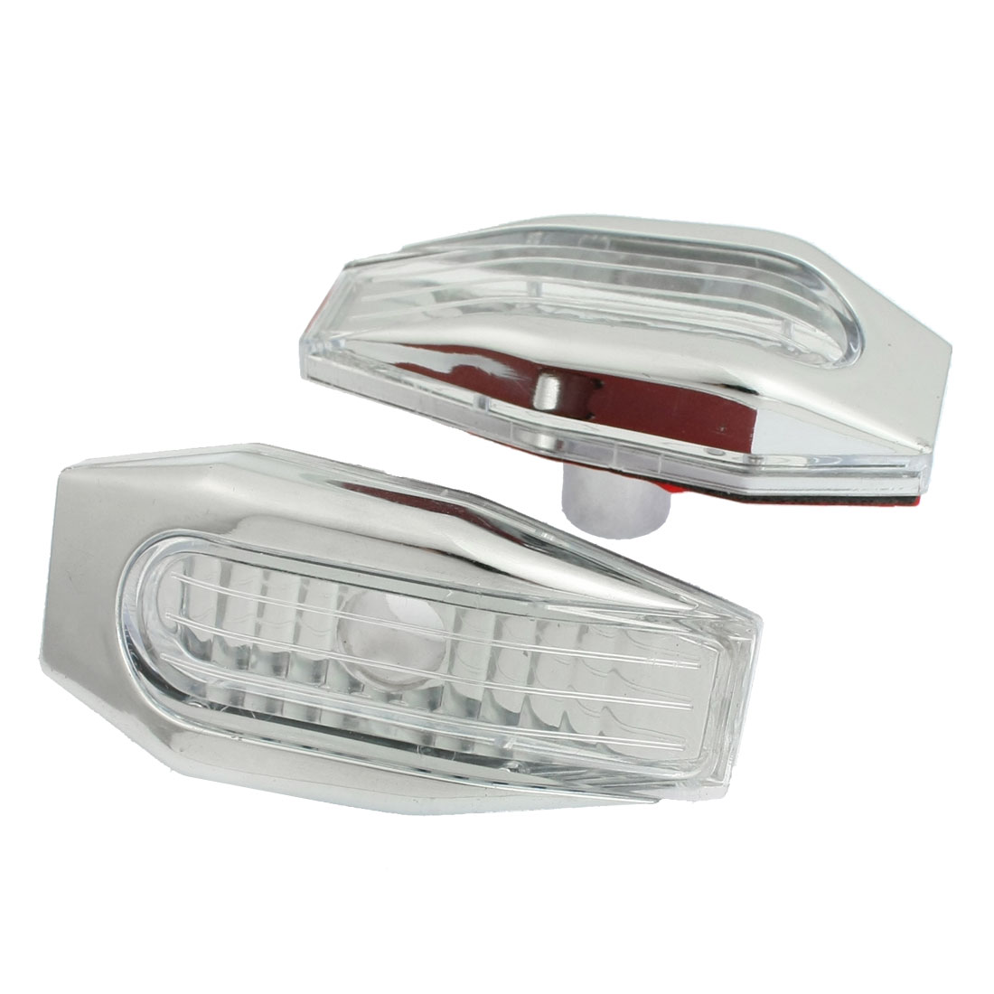 2 Pcs Silver Tone Clear Plastic Car Auto Side Light Lamp Cover