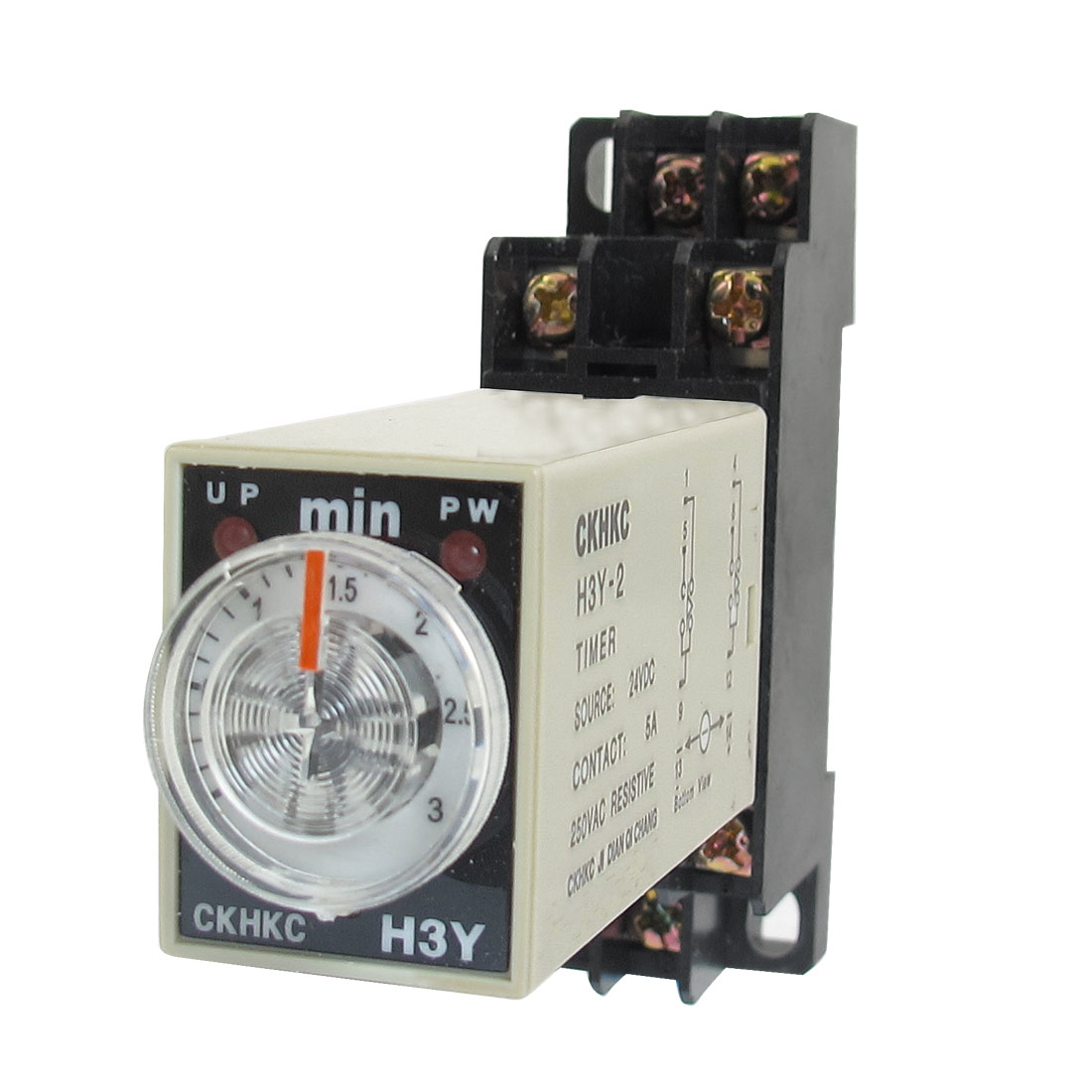 DC 24V H3Y-2 0-3 Minutes 3Min DPDT 8 Pins Power on Time Delay Relay w Socket