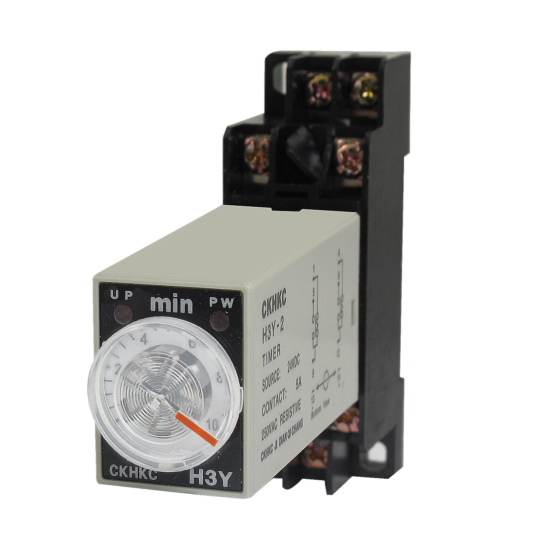 DC 24V H3Y-2 0-10 Minutes 10Min DPDT 8 Pins Power on Time Delay Relay w Socket
