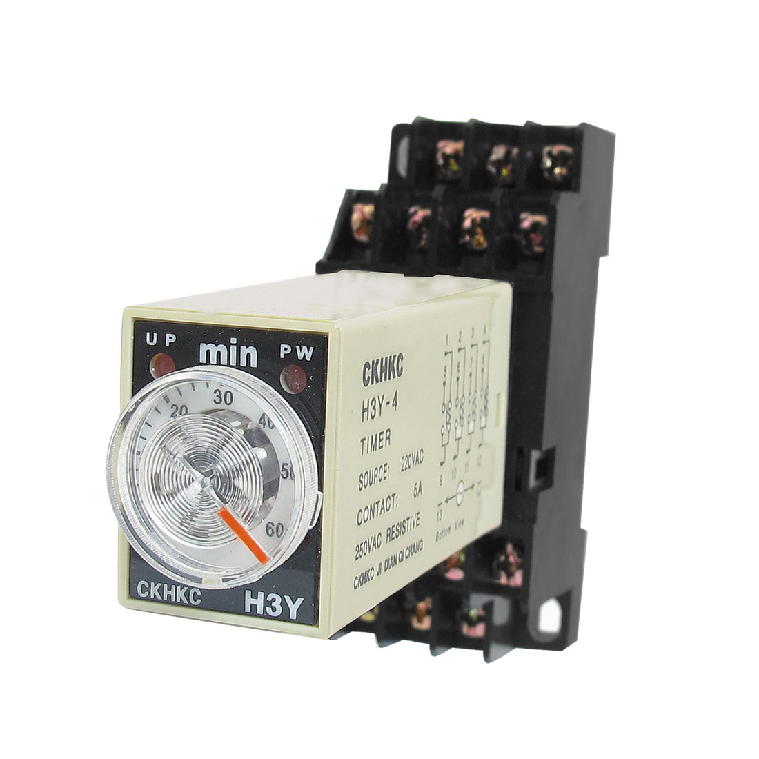 AC 220V H3Y-4 0-60 Minutes 4PDT 14 Pins Power on Time Delay Relay w Socket