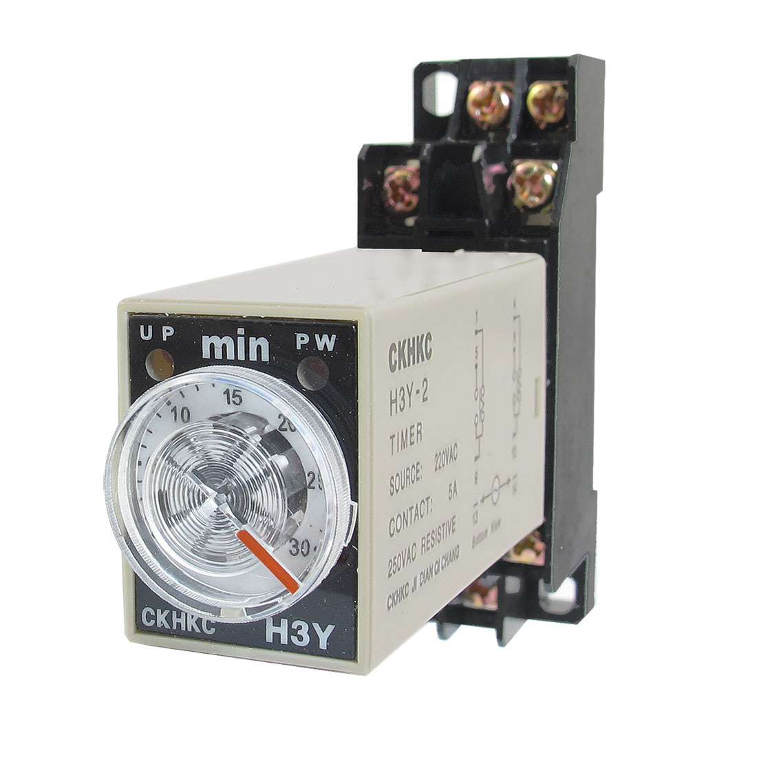 H3Y-2 220VAC DPDT 30 Minutes 30Min 8P Terminals Delay Timer Time Relay w Base