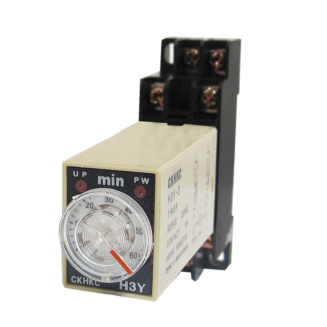 H3Y-2 220VAC DPDT 60 Minutes 60Min 8P Terminals Delay Timer Time Relay w Base