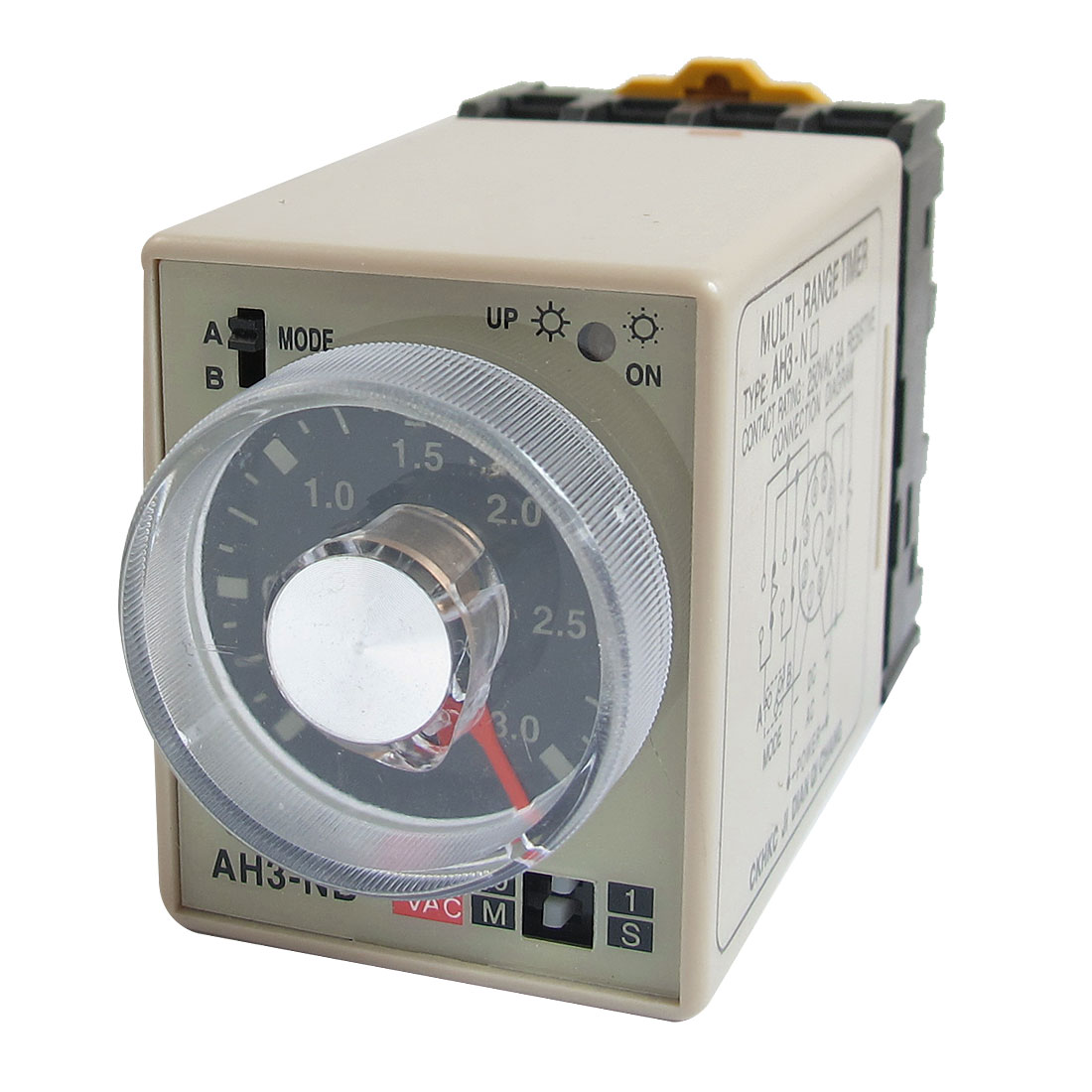 Dual Modes 8P 0-3S 0-30M 3S 30Min Delay Timer Timing Relay AH3-NB 220VAC w Base