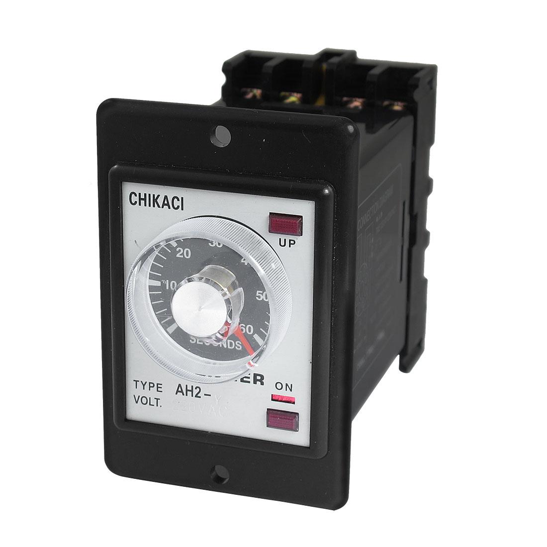DIN Rail 2NO 2NC 8P 60 Seconds 60Sec Delay Timer Time Relay 220VAC AH2-Y w Base