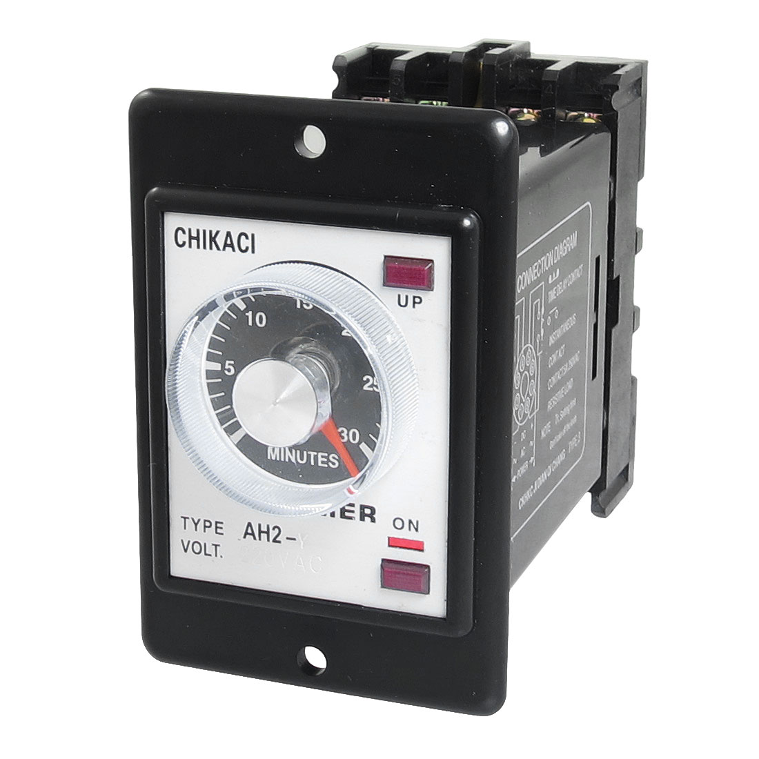 DIN Rail 2NO 2NC 8P 30 Minutes 30Min Delay Timer Time Relay 220VAC AH2-Y w Base