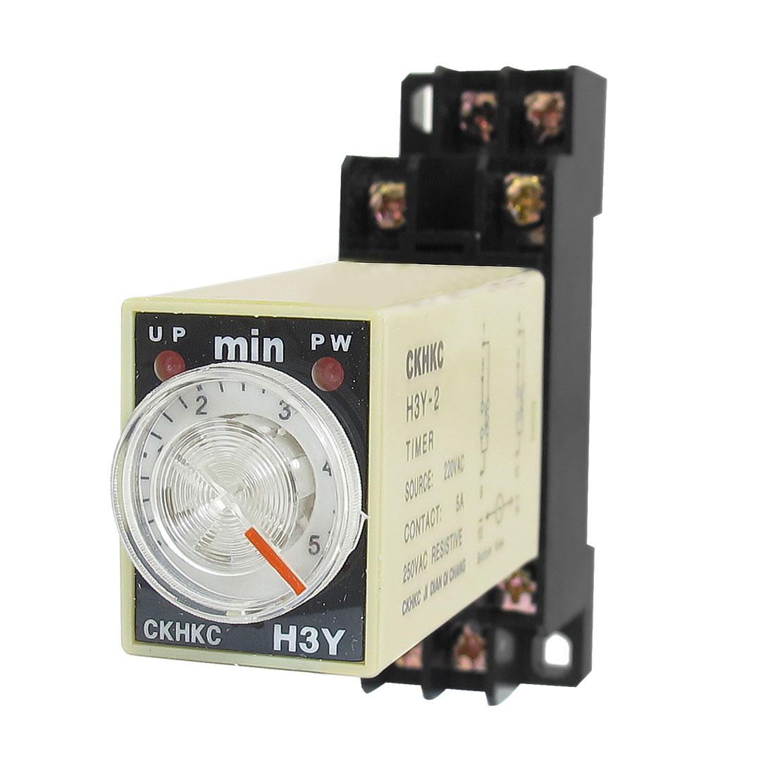 AC 220V H3Y-2 0-5 Minutes 5Min DPDT 8 Pins Power on Time Delay Relay w Socket