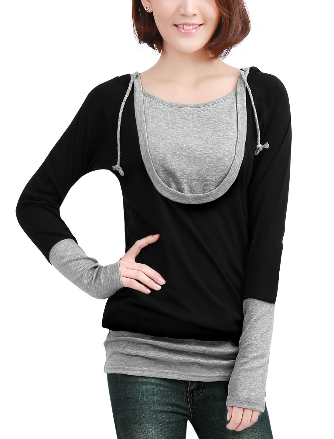 Lady Black Gray Design Scoop Neck Drawstring Hoody Tunic Shirt S