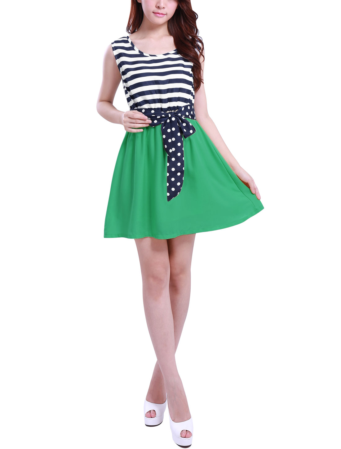 Ladies Green Dark Blue Mini Flare Dress w Dots Prints Belt L