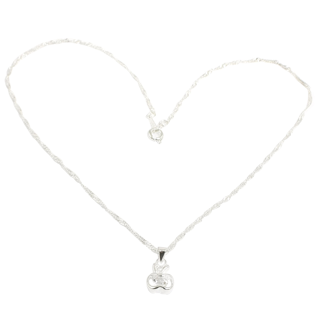 Woman Glittery Rhinestone Decor Silver Tone Spring Closure Hollow Out Apple Pendant Necklace