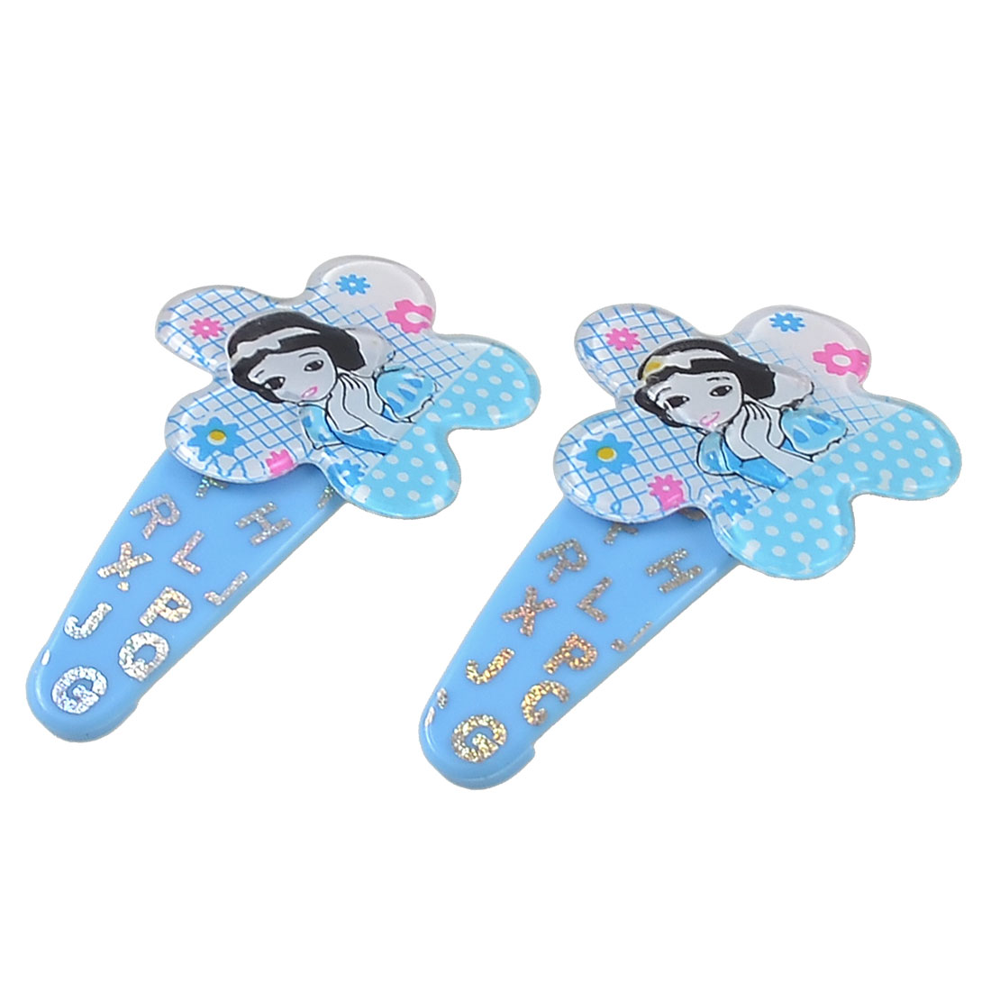 Pair Dots Grids Decor Plastic Beauty Girl Pattern Flowers Hair Clips Blue for Girls
