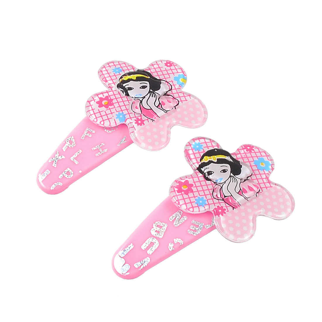 Kids Pink Plastic Lovely Girl Pattern Floral Hairclip Bow Prong Hair Clips Pair