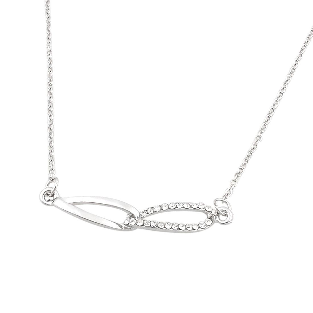 Lady Mini Rhinestones Glasses Design Pendant Adjustable Metal Chain Necklace Silver Tone