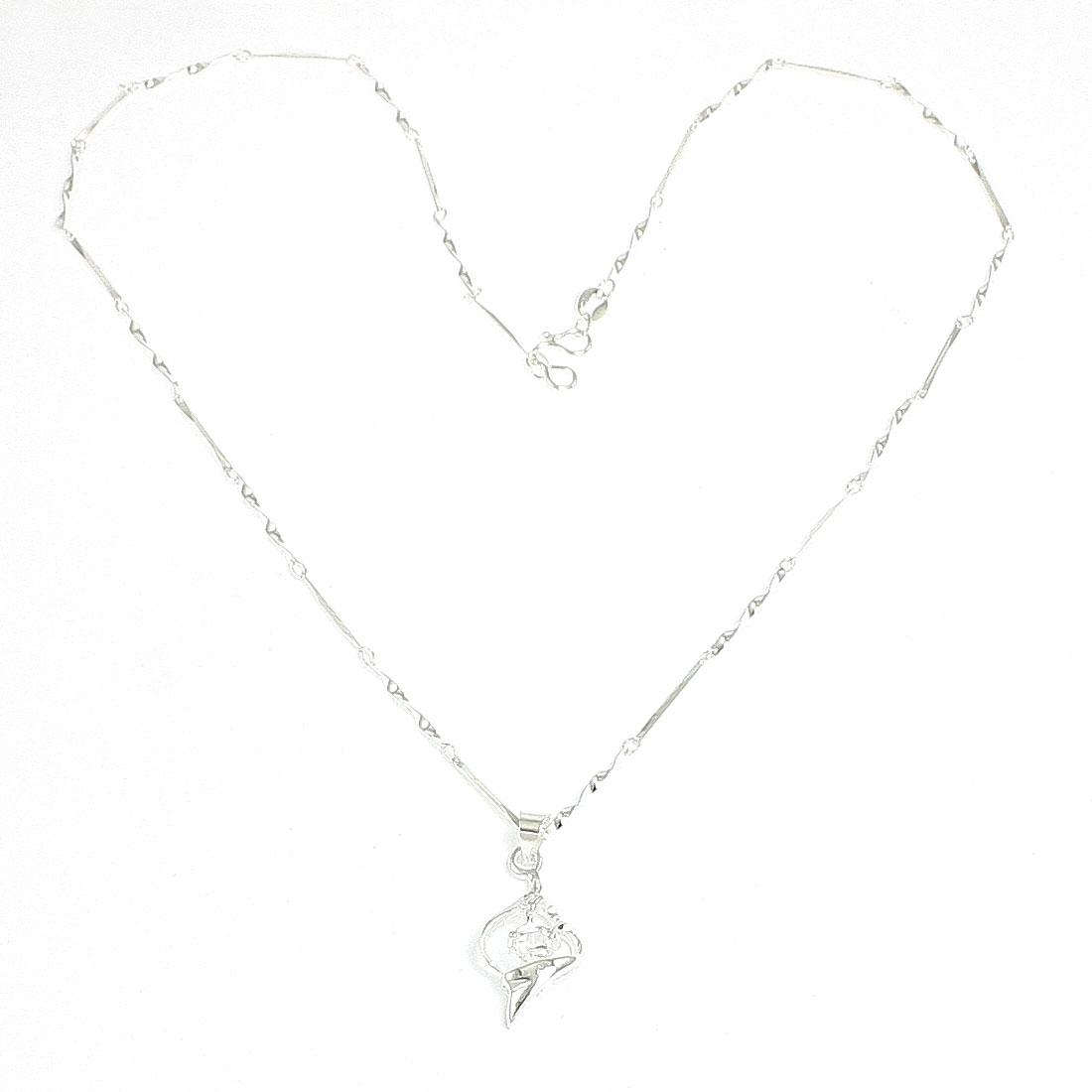 Woman Glittery Rhinestone Decor Silver Tone Spring Closure Rhombus Pendant Necklace