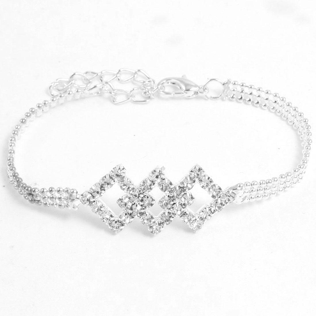 Women Wrist Decor Rhinestone Rhombus Detail Silver Tone Bead Chain Bracelet