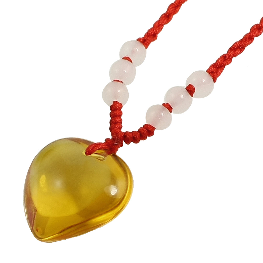 Lady Pull String Closure Plastic Bead Clear Orange Heart Shape Glass Pendant Necklace Chain Red