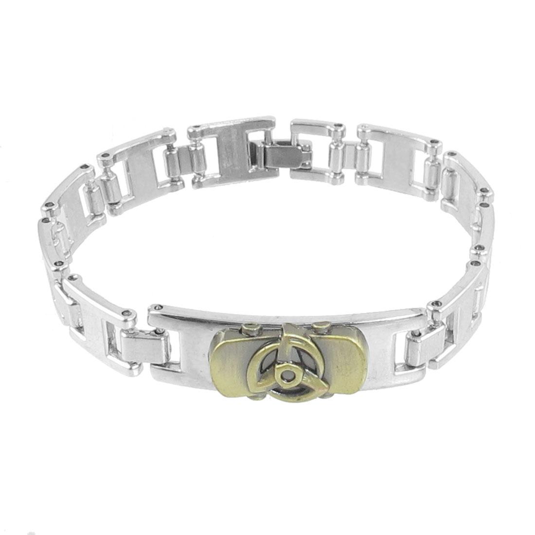 Men Simple Style 10mm Width Wrist Bracelet Ornament Silver Tone