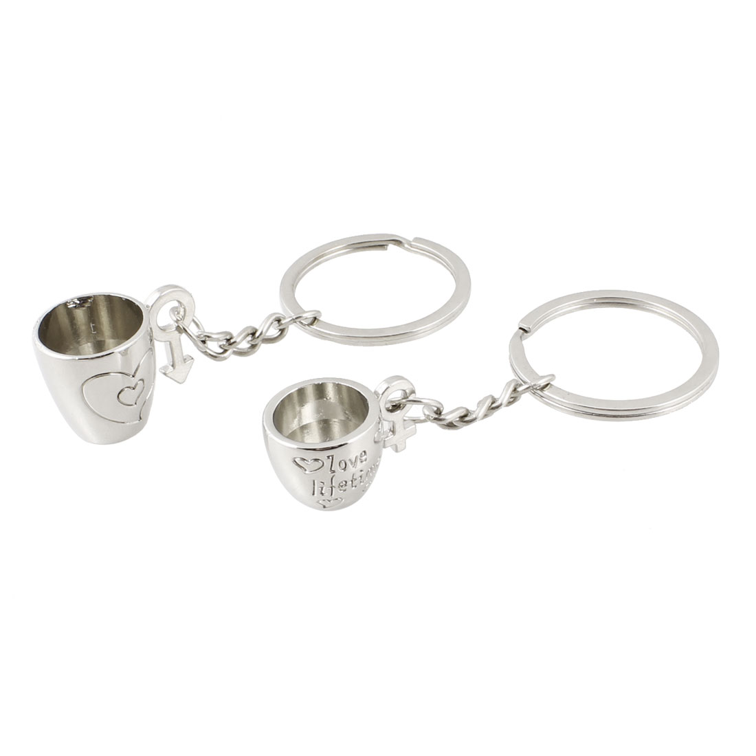 Couple Pair Silver Tone Metal Letters Printed Cup Pendant Keyrings Keychains