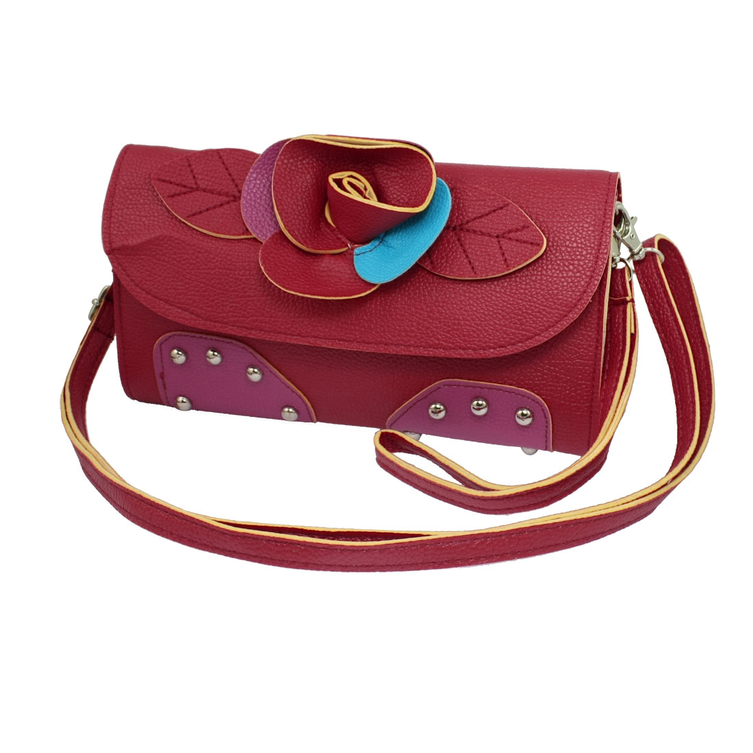 Lady 2 Compartments Magnetic Flap Closure Detachable Strap Red Shoulder Bag