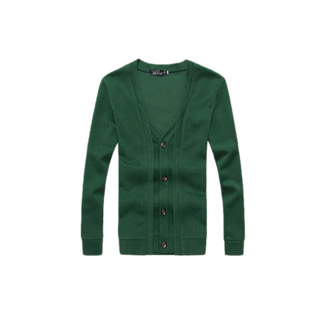 Men NEW Design Long Sleeve V Neck Button Down Layered Green Cardigan M