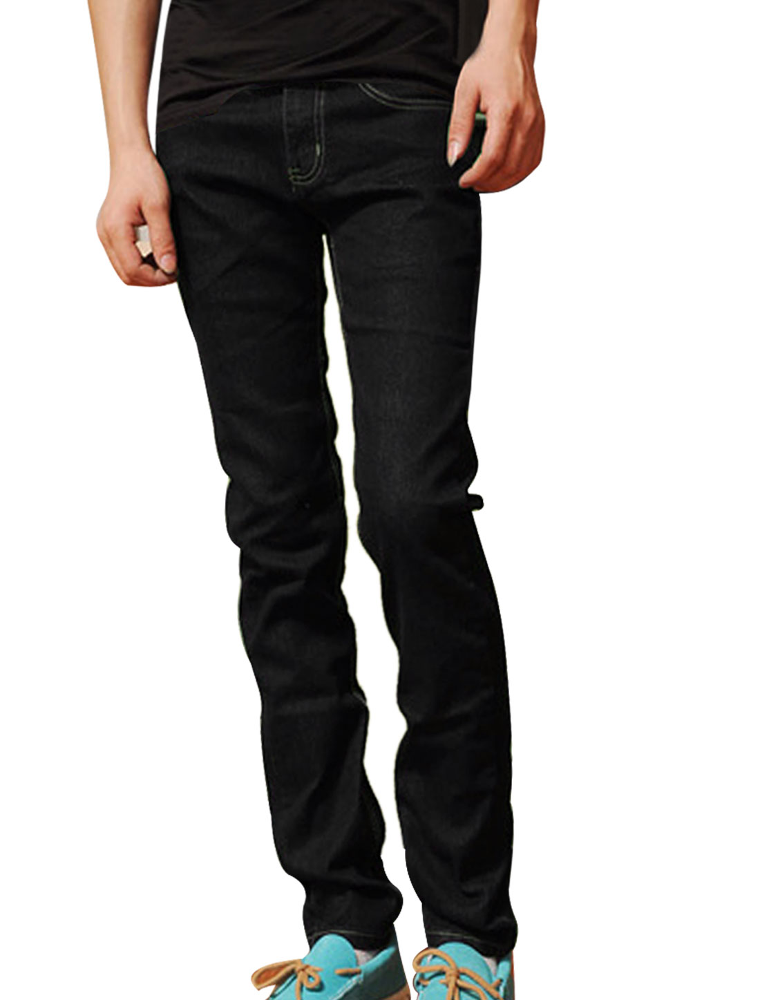 Mens Full Length One Button Zip Closure Studs Decor Black Jeans Trouser W33