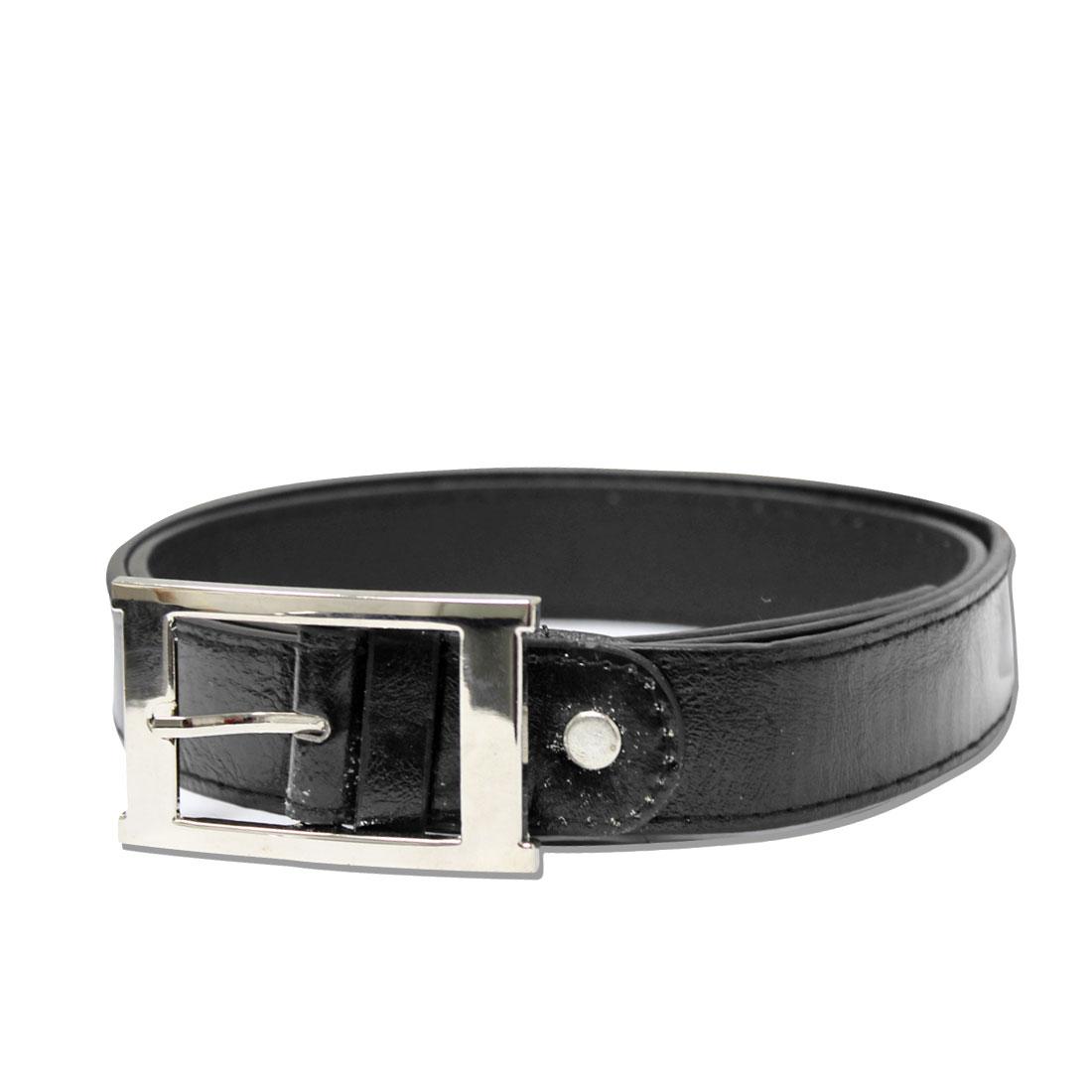 Mens Korea Fashion Black Easy Matching Square Buckle Faux Leather Waistbelt
