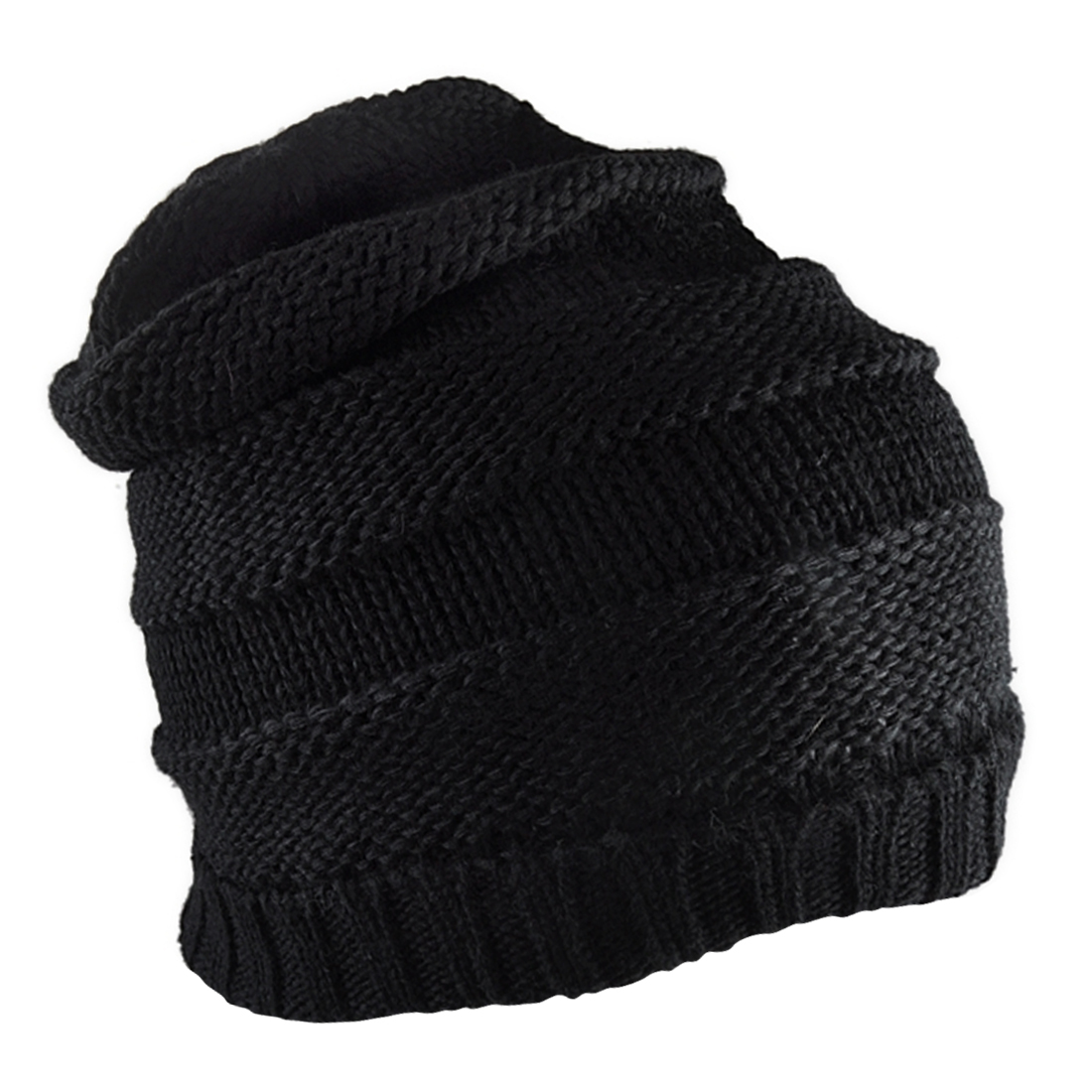 Men Women Black Elastic Hat Ribbing Detail Rolled Up Trim Knitting Beanie Cap