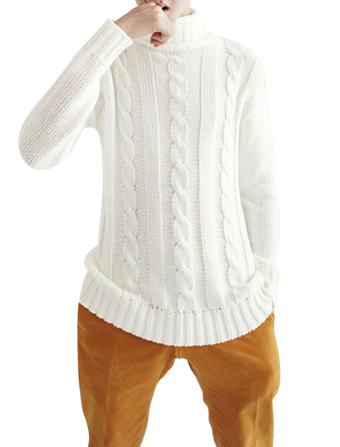 Mens Turtleneck Long Sleeve Pullover Cable Weave Rib Pure White Sweater S