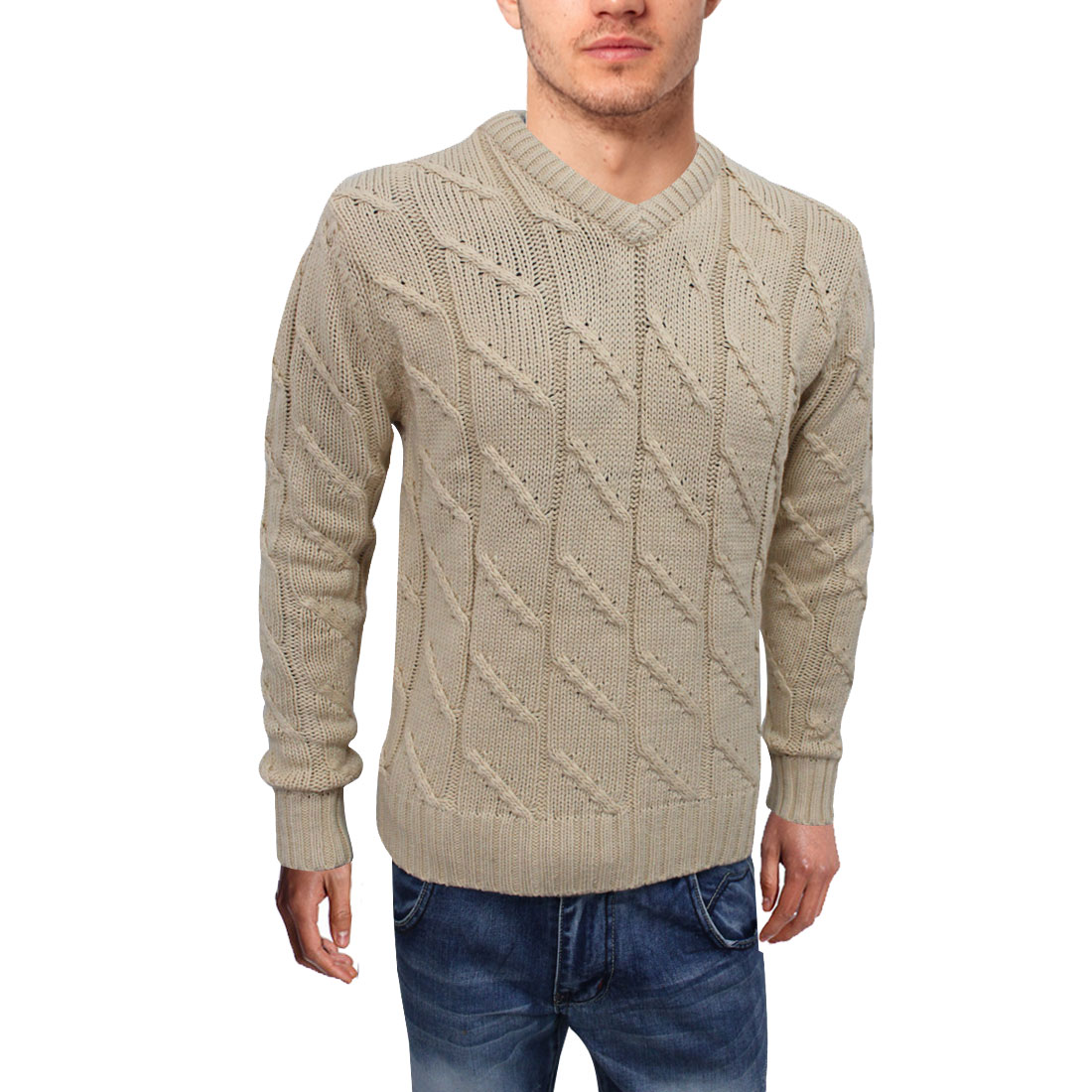 Mens Weave Cable Rib Design V Neck Long Sleeve Pullover Beige Sweater M