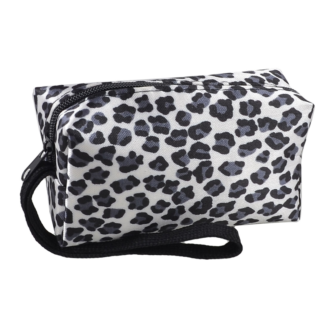Zipped Closure Black Blue Leopard Print Hand Strap Faux Leather Lining Rectangle Wallet for Lady