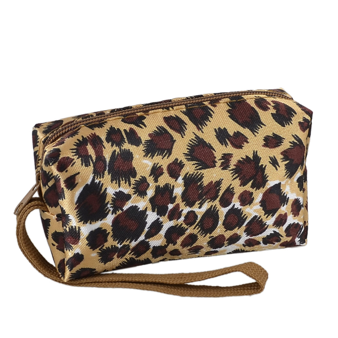 Zipped Closure Black Burgundy Leopard Print Hand Strap Rectangle Wallet Beige for Lady