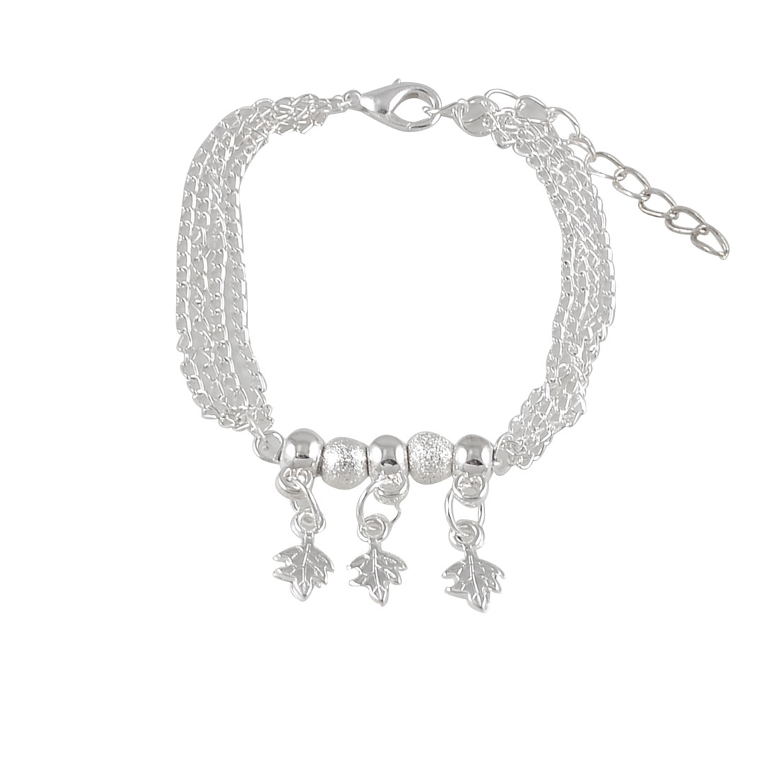 Woman Decorative Metal Leaves Five Beads Bracelet Chain Wrist Ornament Silver Tone