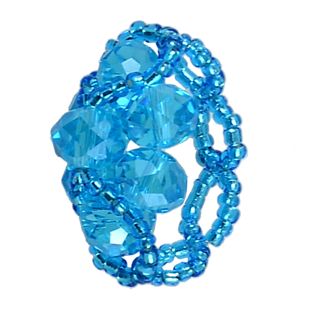 Woman Sky Blue Faceted Bead Flower Shape Finger Ring US 6 UK L 1/2