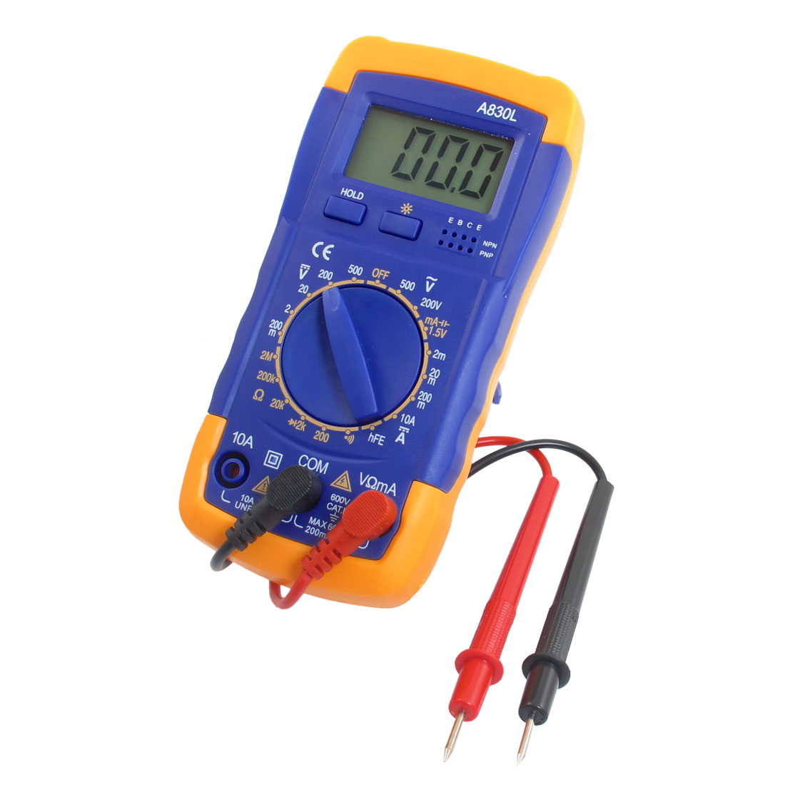 A830L Voltmeter Ammeter Frequency LCD Digital Multitester AC/DC Blue Yellow