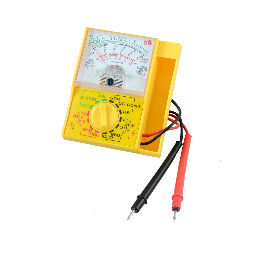 NY-128 Ohmmeter Voltmeter Pocket Analog Multitester Tester Instrument Yellow