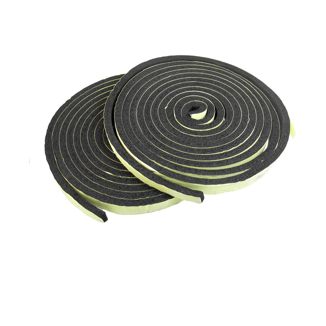 2 Pack Black Sponge Adhesive Back Car Sealed Strip 5M x 2cm