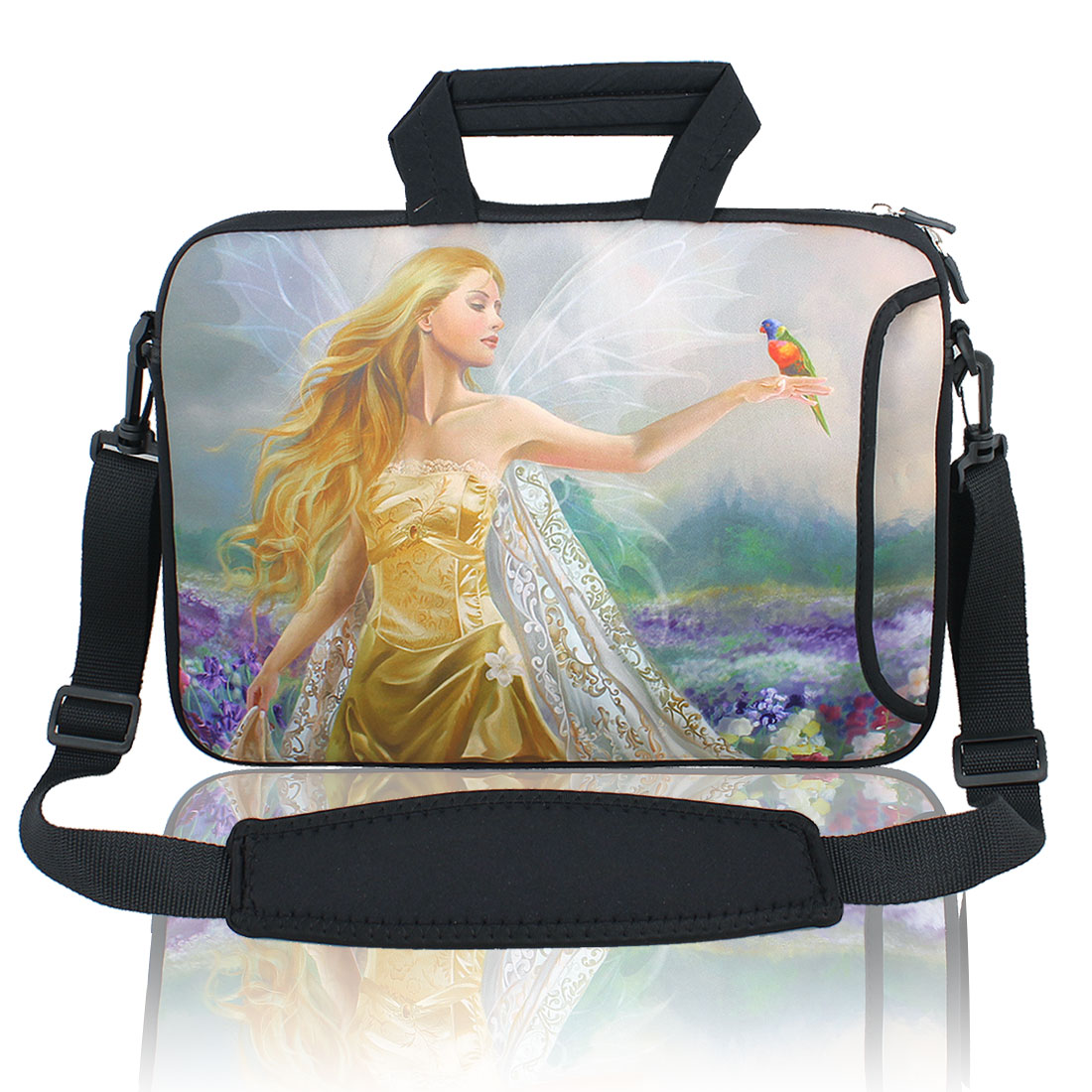 "13"" 13.3"" Angel Notebook Laptop Sleeve Handbag Case w Shoulder Strap for Asus HP"